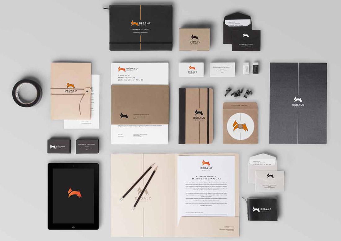Diseño de imagen corporativa: logos, manual corporativo, tarjetas de visita, papelería. Dedalo Digital