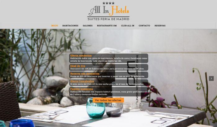 Diseño web para All In Hotels, realizado por Dedalo Digital