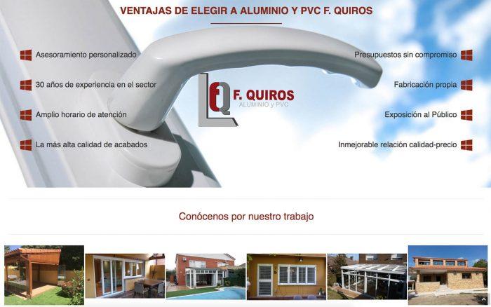 Diseño web para Aluminio y PVC F. Quirós, realizado por Dedalo Digital