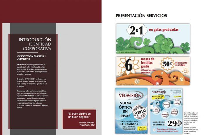 Imagen corporativa para Optica Velavisión, realizado por Dedalo Digital