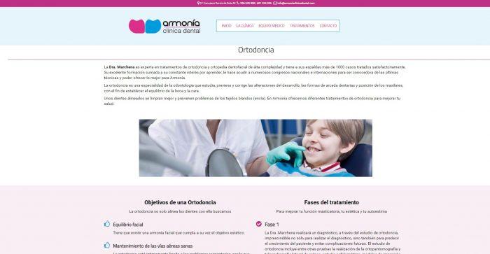 Diseño web para la Clínica dental Armonía, realizado por Dedalo Digital
