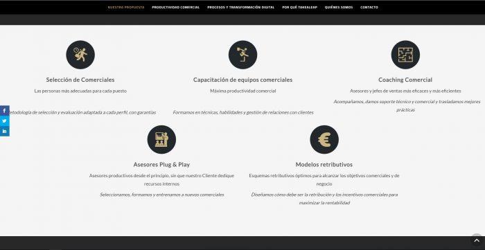 Diseño web para Take a Leap, realizado por Dedalo Digital