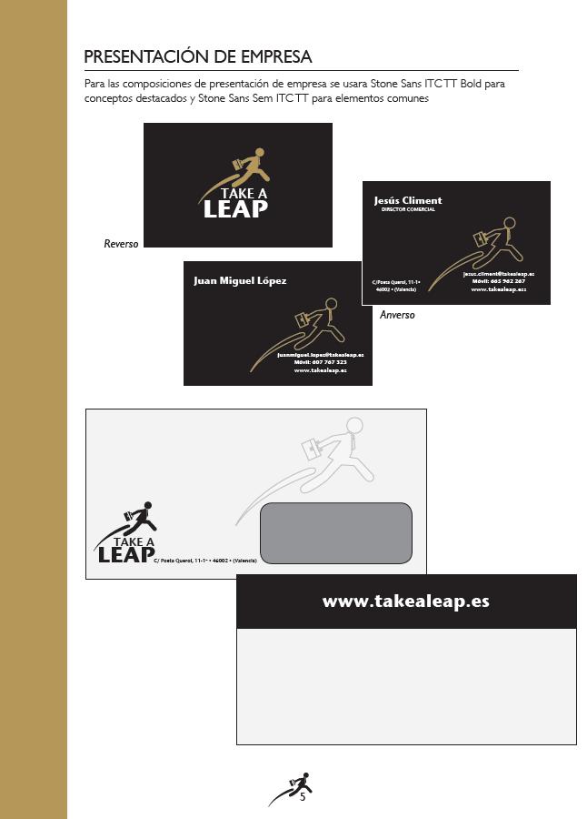 Imagen corporativa para Take a Leap, realizado por Dedalo Digital